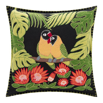 Tropical Love Birds Cushion - Black