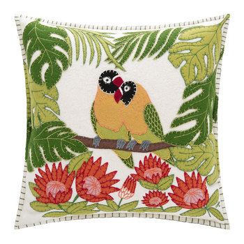 Tropical Love Birds Cushion - Cream