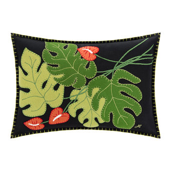 Tropical Cheese Plant Pillow - Black