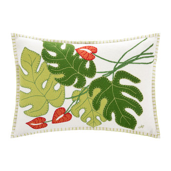 Tropical Cheese Plant Cushion - Cream