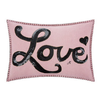 Glam Rock Sequin Pillow - Love - Pink