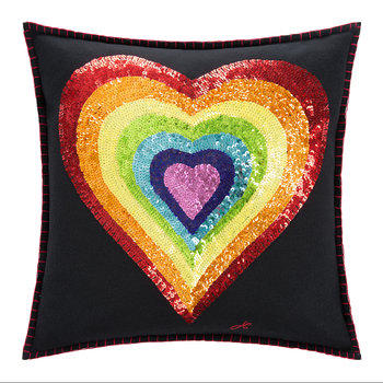 Glam Rock Rainbow Pillow - Heart