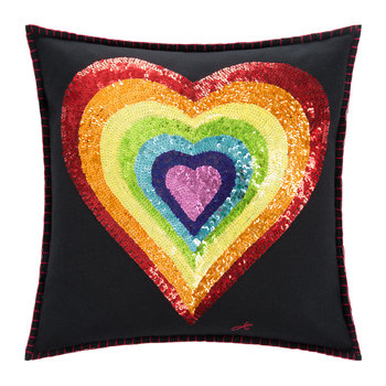 Glam Rock Rainbow Cushion - Heart