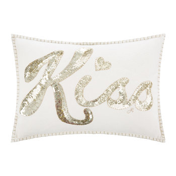 Glam Rock Sequin Pillow - Kiss - Cream