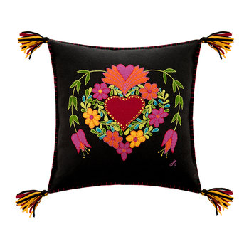 Fiesta Heart Pillow - Black