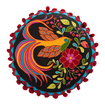 Fiesta Bird of Paradise Pillow - Black