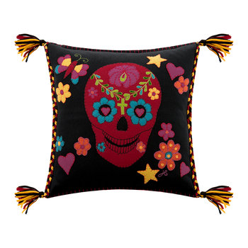 Fiesta Skull Pillow - Black