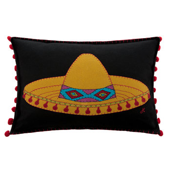 Fiesta Sombrero Pillow - Black