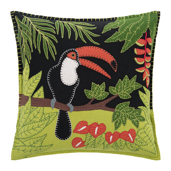 Tropical Toucan Pillow - Black