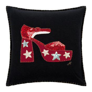 Glam Rock Sequin Shoe Pillow - Black