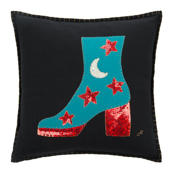 Glam Rock Sequin Boot Pillow - Black