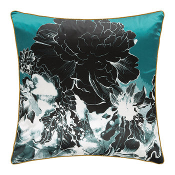 Flower Silk Cushion - Aqua