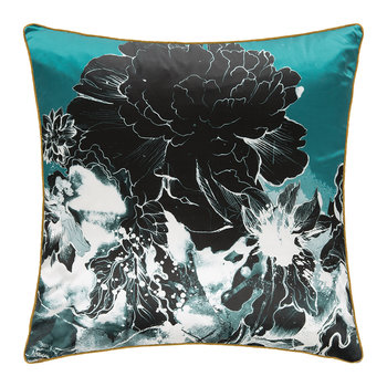 Flower Silk Pillow - Aqua
