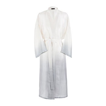 Ombre Silk Bathrobe - Ivory/Grey