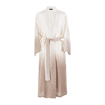 Ombre Silk Bathrobe - Ivory/Blush