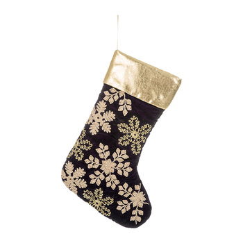 Velvet Embroidered Christmas Stocking - Purple