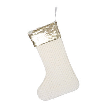 Velvet & Gold Sequin Christmas Stocking - Cream