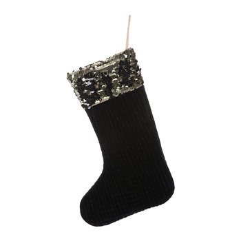 Velvet & Gold Sequin Christmas Stocking - Black