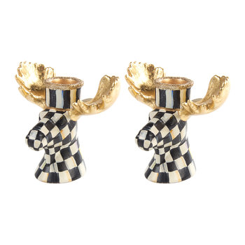 Courtly Check Moose Candlesticks - Set of 2