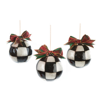Jester Check Tree Decorations - Set of 3