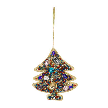 Jewel Christmas Tree Decoration - Blue/Red