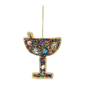 Jewel Cocktail Glass Tree Decoration - Blue/Red