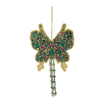 Jewel Butterfly Tree Decoration - Pink/Green