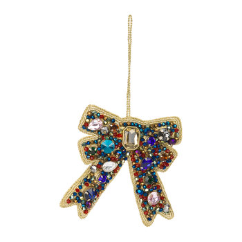 Jewel Bow Tree Decoration - Blue/Red