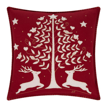 Red Folklore Deer Cushion - 46x46cm