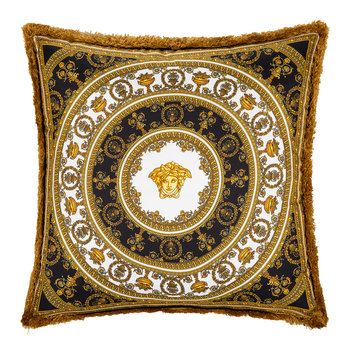I Love Baroque Silk Cushion - 50x50cm - Black/White/Gold