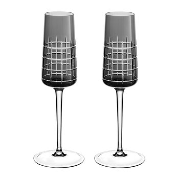 Graphik Champagne Flutes - Set of 2 - Grey