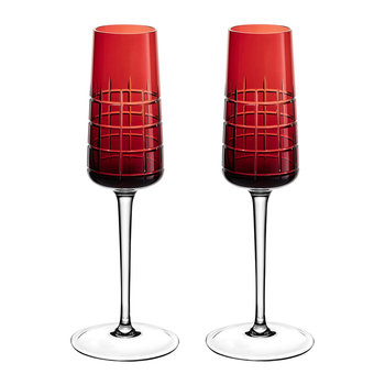 Graphik Champagne Flutes - Set of 2 - Red