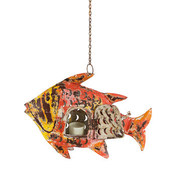 Hanging Fish Tealight Holder - Orange