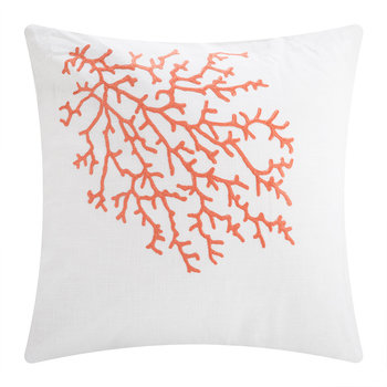 Palma Cushion - 65x65cm - White/Coral