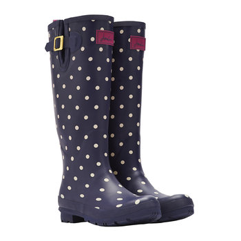 Women's Navy Spot Wellies