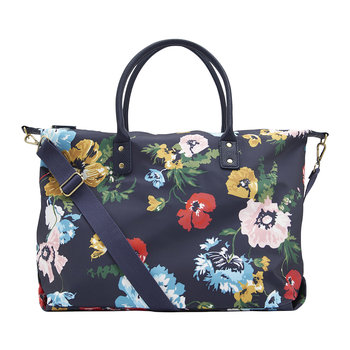 Kembry Canvas Overnight Bag - French Navy Posy