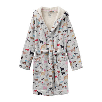 Idlewhile Grey Multi Dog Dressing Gown