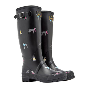 Women's Black Chic Dog Wellies