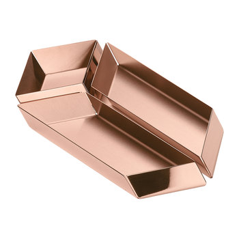 Axonometry Serving Tray - Set of 3 - Rose Gold Parallel