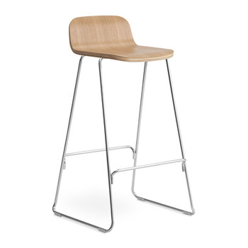 Just Barstool With Back - Oak/Chrome
