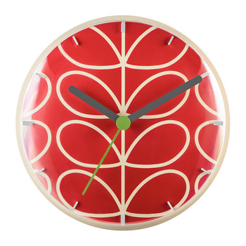 Linear Stem Wall Clock - Geranium Red
