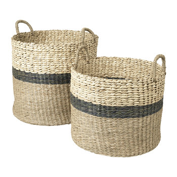 Marlene Seagrass Basket- Set of 2 - Green/Palm Leaf