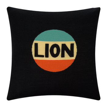 Lion Badge Cushion - Black