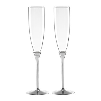 Simply Sparkling Champagne Flutes - Set of 2 - Silver