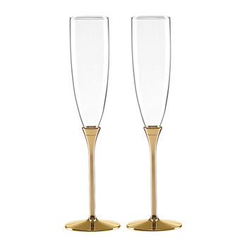 Simply Sparkling Champagne Flutes - Set of 2 - Gold