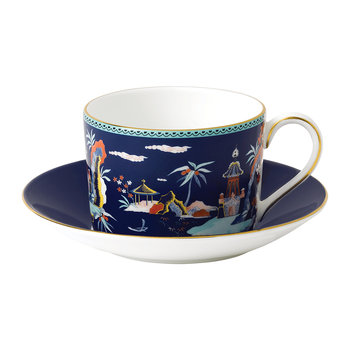 Wonderlust Teacup & Saucer - Blue Pagoda