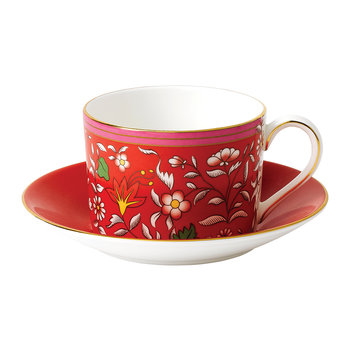 Wonderlust Teacup & Saucer - Crimson Jewel