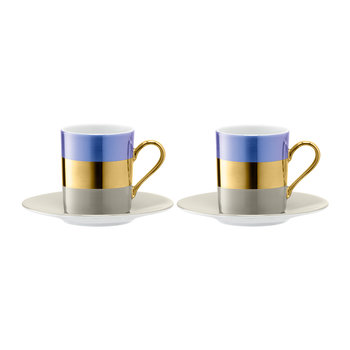 Bangle Coffee Cup & Saucer - Set of 2 - Blueberry