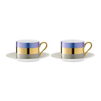 Bangle Teacup & Saucer - Set of 2 - Blueberry