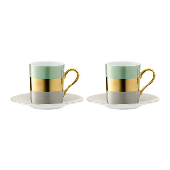 Bangle Coffee Cup & Saucer - Set of 2 - Melon